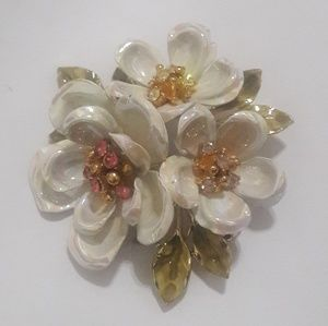 Vintage signed Coro 3 white flower brooch